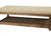Tufted Leather Ottoman With Shelf