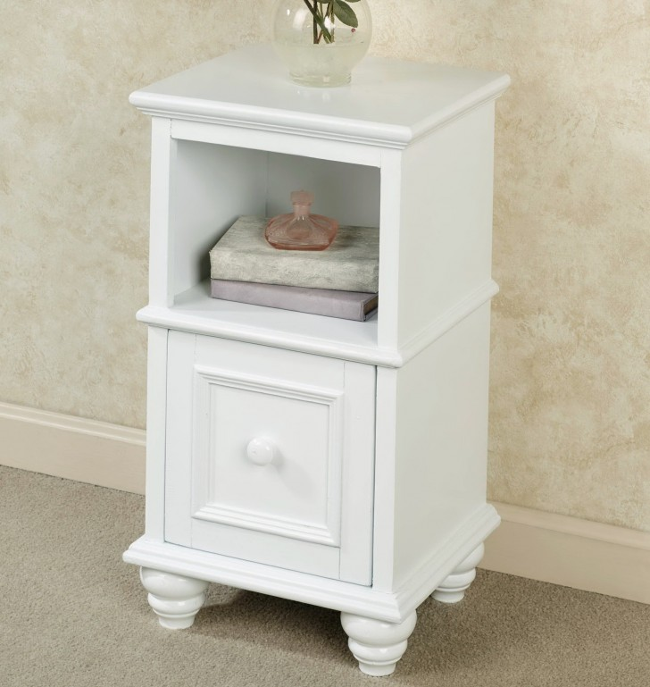 Permalink to White Accent Table With Storage