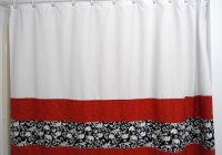 White And Red Curtain Panels