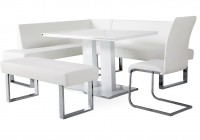White Bench Dining Set