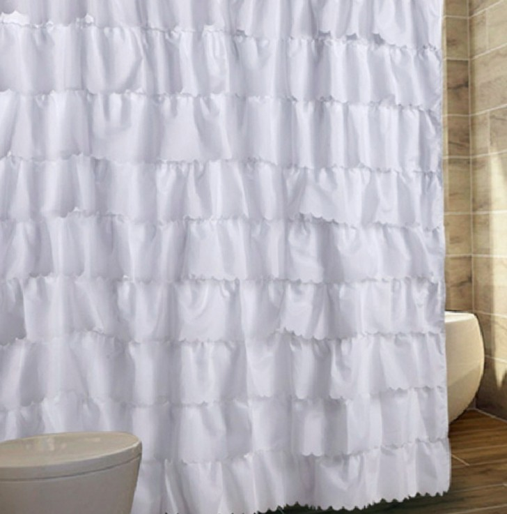 Permalink to White Cotton Ruffle Shower Curtain