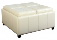 White Leather Ottoman Coffee Table