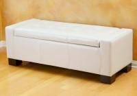 White Leather Storage Ottoman