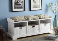 white storage bench with cushion