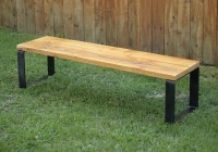 Wooden Bench Metal Legs