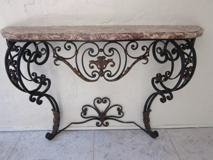 Permalink to Wrought Iron Console Table With Marble Top