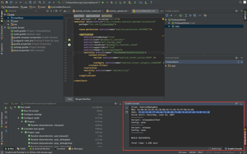 SHA in Android Studio