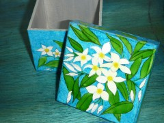 Hand painted Frangipani box