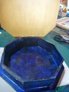 Inside of hand painted lapis lazuli box