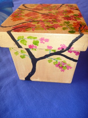 Hand painted Cherry blossom box