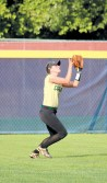 Centerfielder Savannah Moorefield has her eye on the ball and makes the catch for the second out in the sixth inning Friday afternoon.