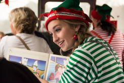 Elf reading on the train