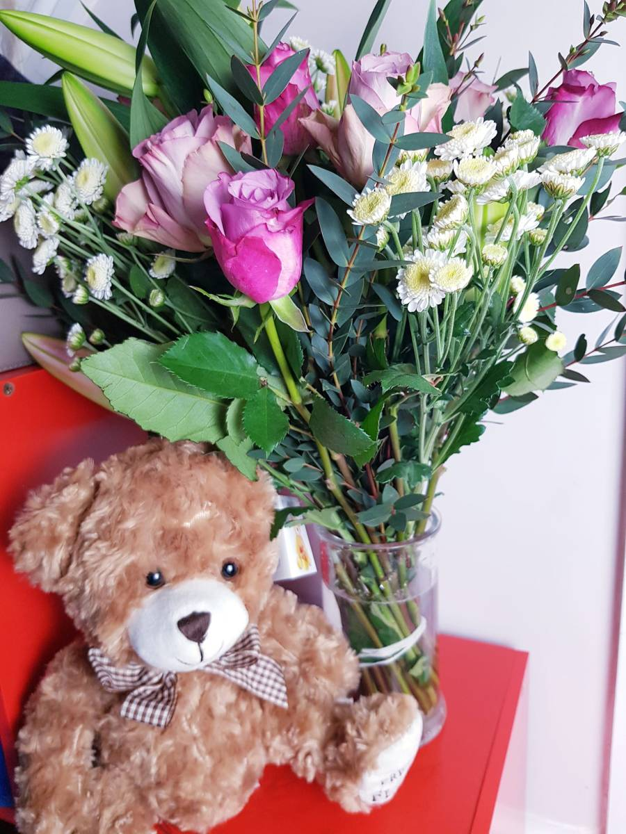 Bouquet with a teddy