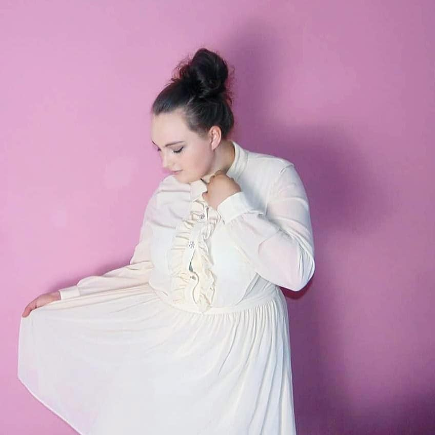 me in my new cream dress