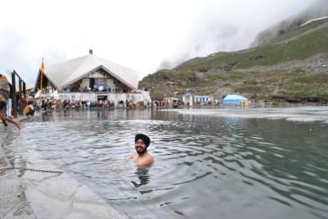A dip in the glacial lake at Hemkund