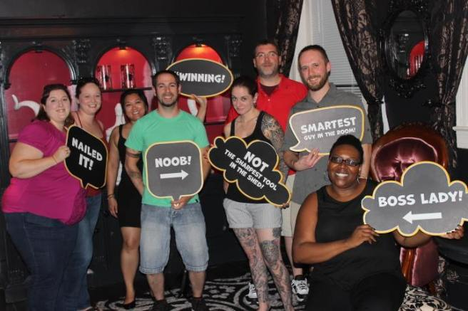 Team Disturbed Friends (Jason, Tara, Mike, Eric and Stephanie) stopped the Black Widow from claiming another victim. Photo courtesy of Escape Quest's Facebook page.
