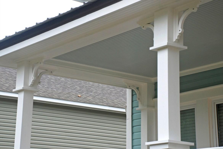 Grout exterior columns & brackets after