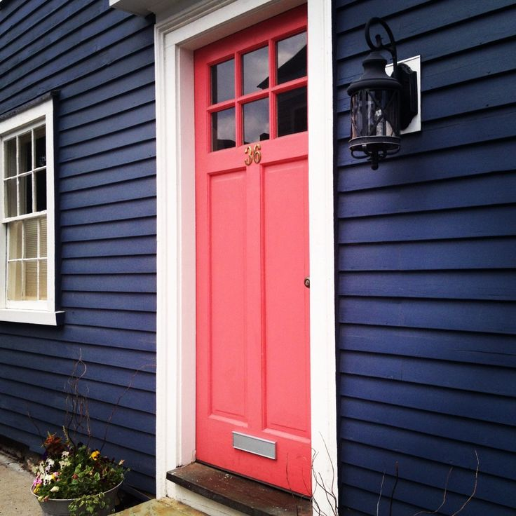 coral on navy door