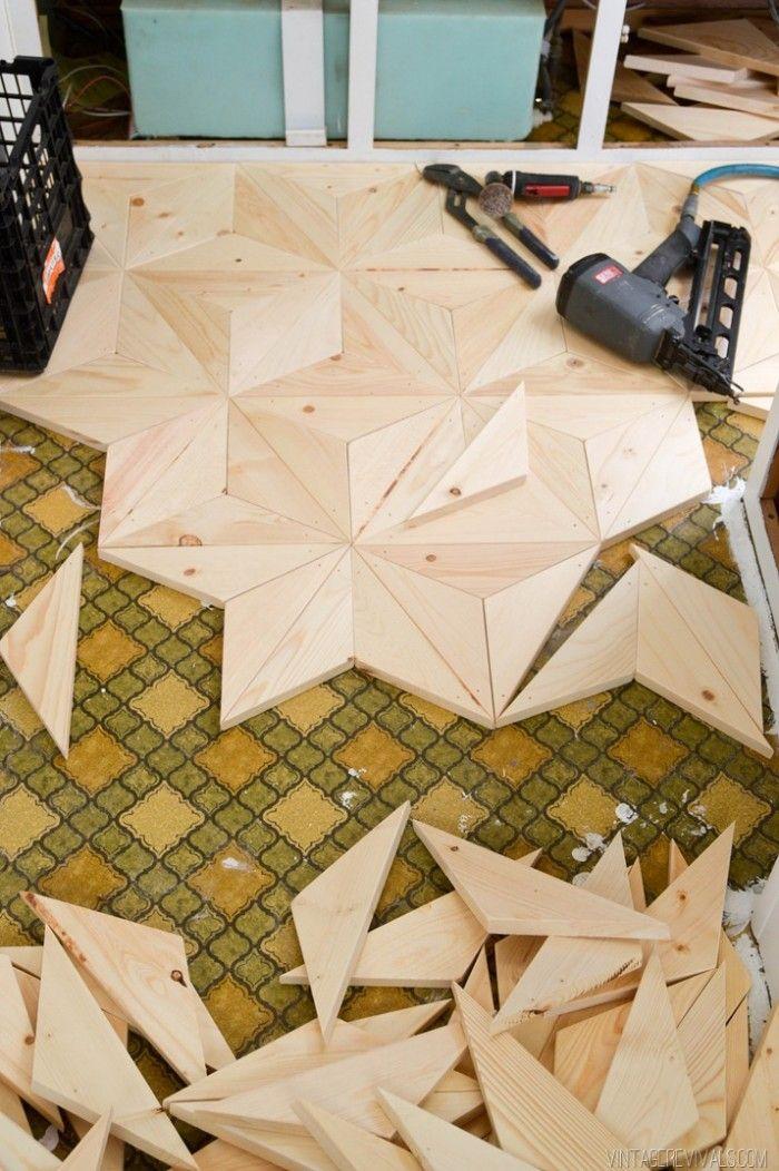 Mandy's DIY Plywood floor on her vintage trailer appeared on her blog, Vintage Revivals.