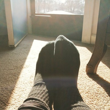 My favorite spot in the world is this sunny spot on my mom's floor.