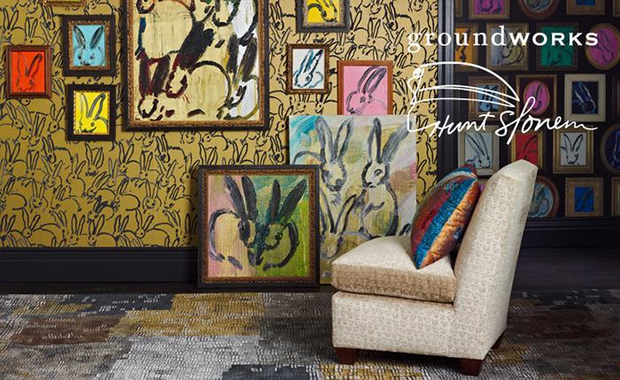 Bunny Wallpaper Hunt-Slonem Groundworks Lee joffa