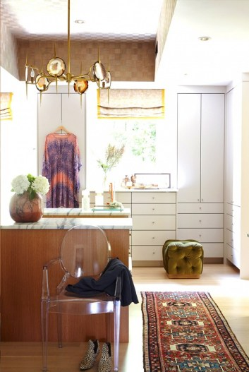 Nathan Followill House Tour - The Dressing room is cozy with a lovely Persian Rug