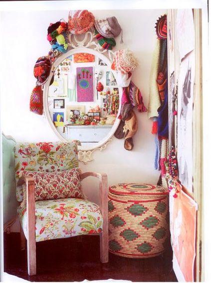 boho decor with african basket