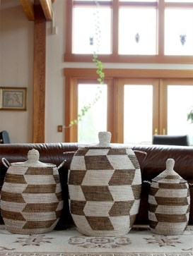 collection of african baskets in home decor