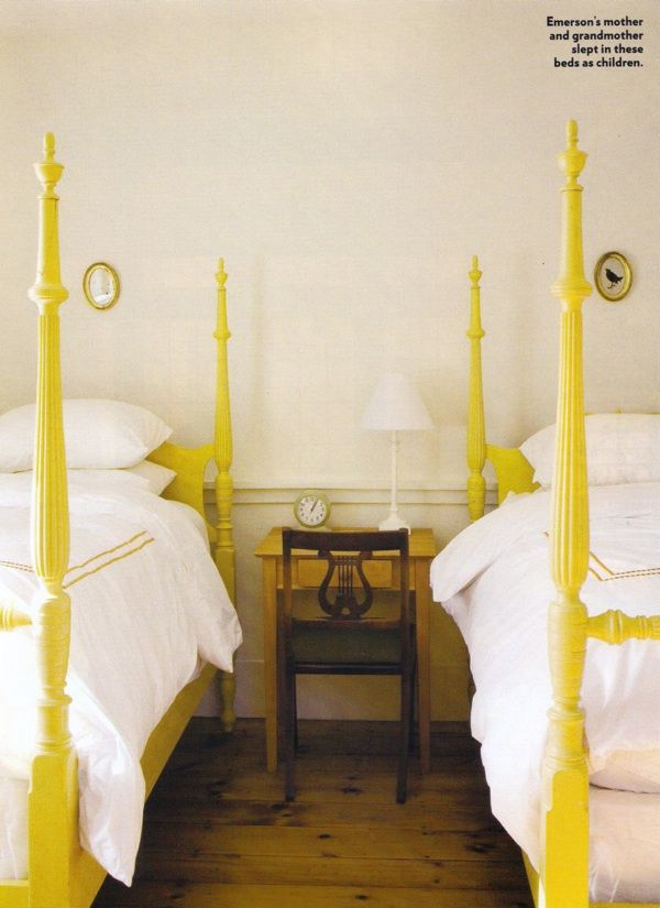 yellow twin beds