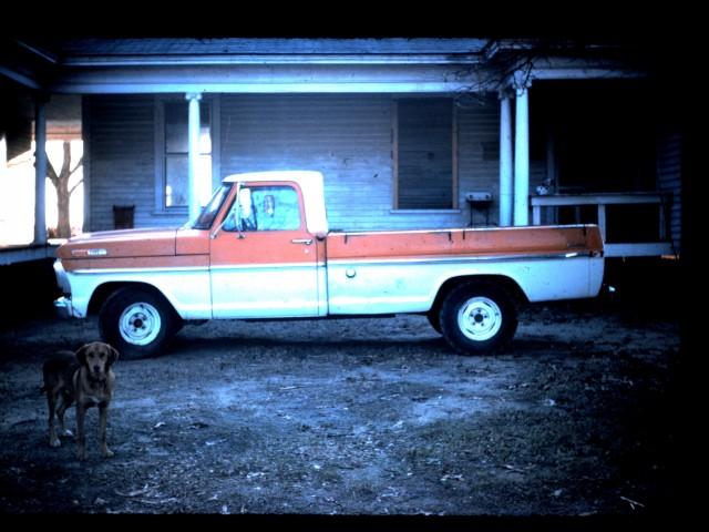 dad orange truck
