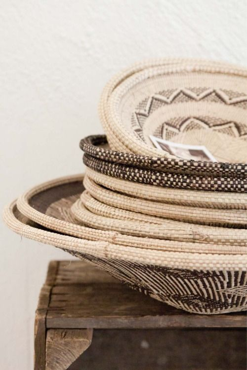 a stack of african baskets