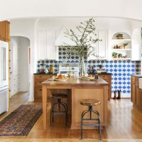 White & Wood Kitchen Cabinets