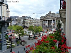 The view from our little balcony, across to the Bourse