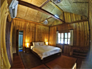 The spacious wooden chalets