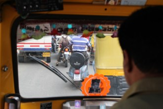 Our view from inside a rickshaw. Indian traffic is kind of scary!