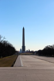 There's a great view of the Washington Monument with the Capitol from behind it when you come out of the Lincoln Monument.