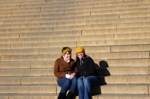 Emily and Agnes needed another friend picture on the steps of the Memorial.