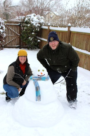 My first ever snowman! We named him Kumar!