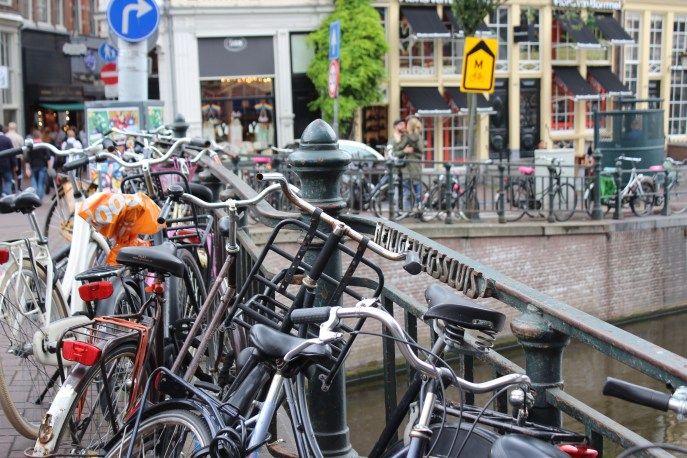 I have mixed feelings about all the bikes in Amsterdam. On one hand they're so quaint-looking and yet they would come out of no where and almost run us off the road if we weren't paying attention well!