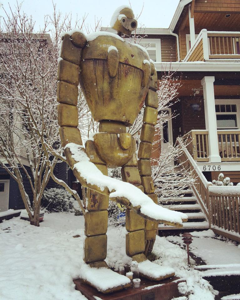A snowy Ballard robot (snobot?). (Photo by Zoe Dash)