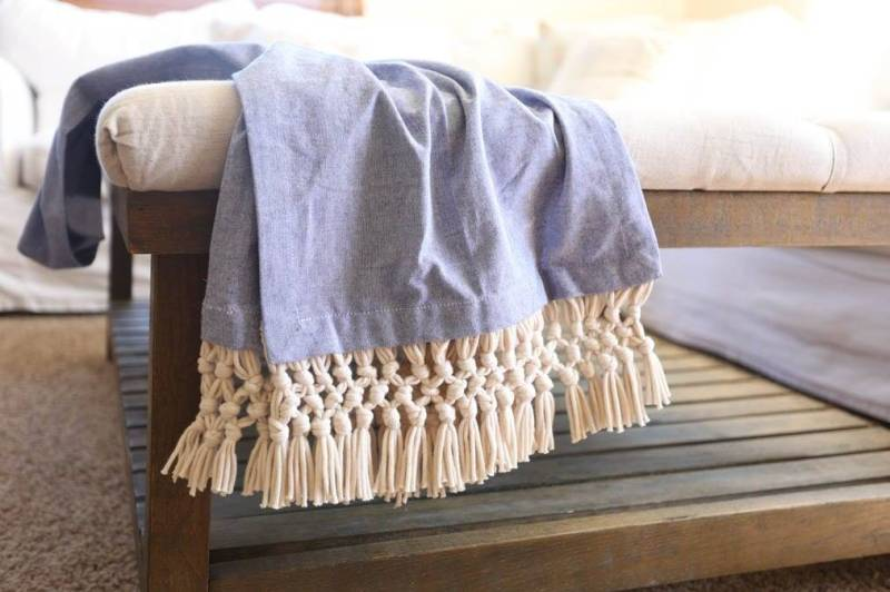 macrame fringe throw