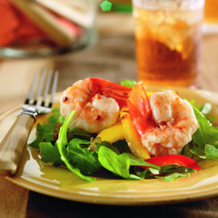 Lemon glazed jumbo shrimp salad