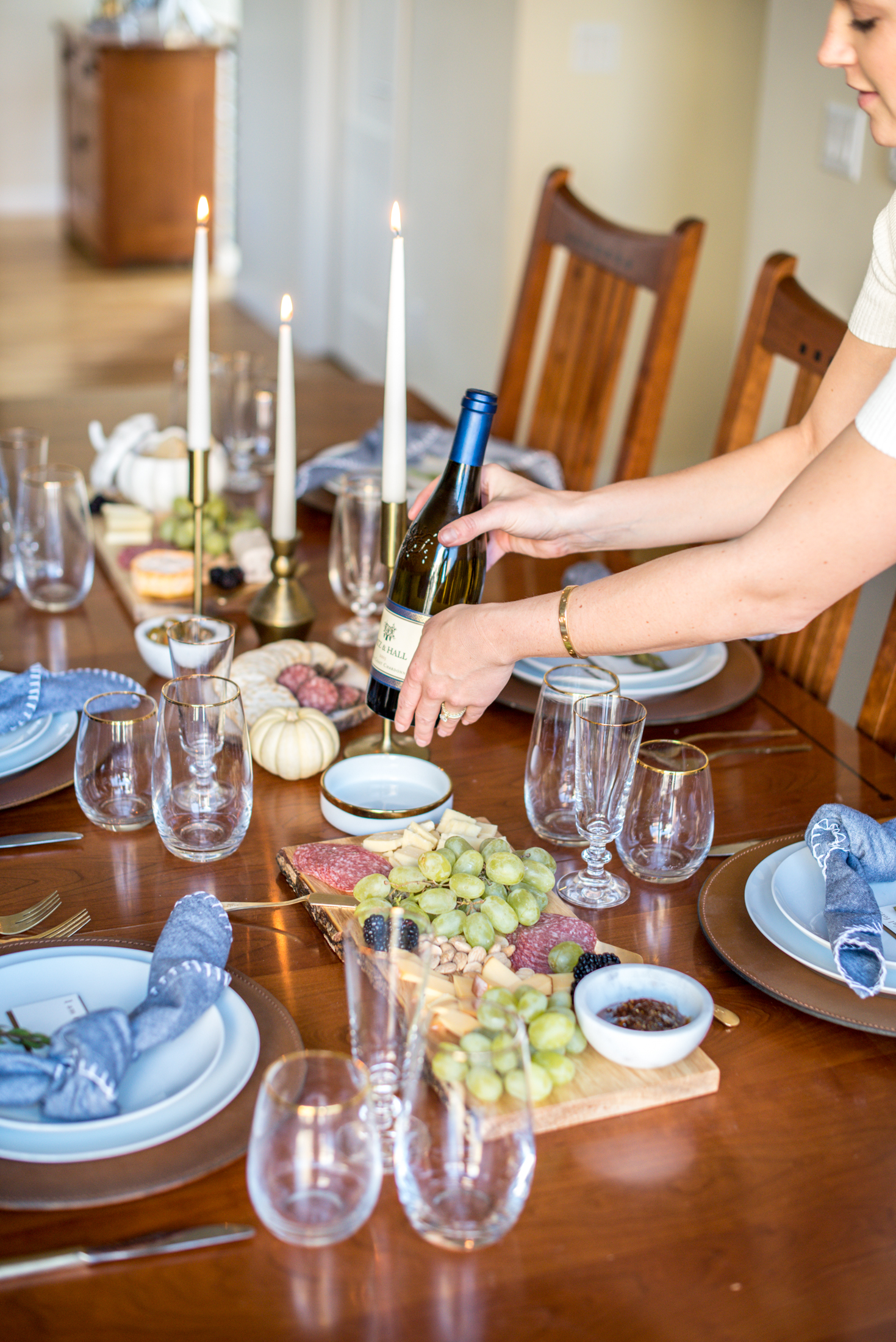 Always keep bottles of wine on the table! It allows for guests to always have access to a fresh glass of wine and it is one less thing you need to worry ... & The Every Hostess - A Rustic Thanksgiving Table Setting - The Every ...