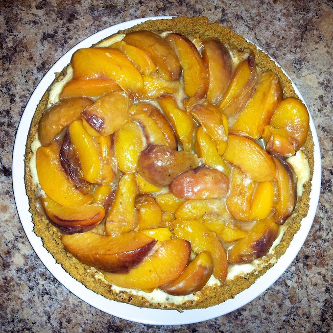 Bourbon-Roasted Peach Cheesecake at www.theeverykitchen.com