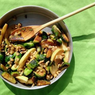 Warm Apple & Brussels Sprouts Salad with Candied Walnuts
