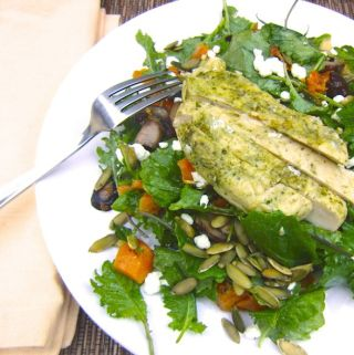 Fall Kale Salad with Pesto Chicken