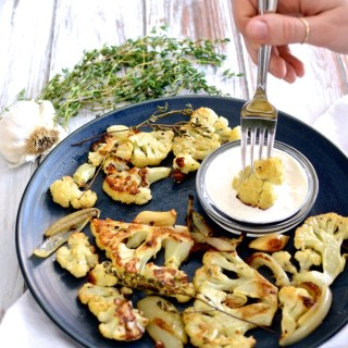 Thyme-Roasted Cauliflower with Horseradish Sauce | www.theeverykitchen.com