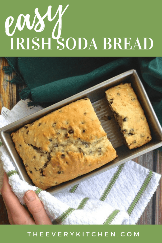 You just need one bowl for this Easy Irish Soda Bread recipe. In about 90 minutes, you'll want to have the kettle on for a cup of tea and the Irish butter getting soft on the counter, ready to enjoy slice after slice of soda bread. | theeverykitchen.com