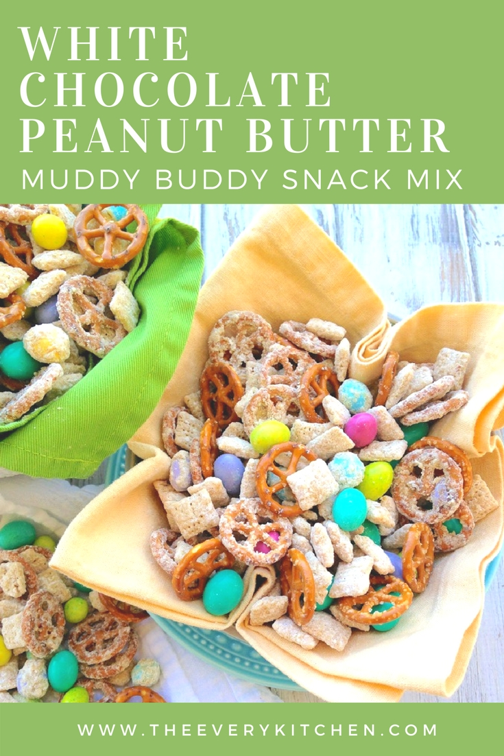 White Chocolate Peanut Butter Muddy Buddy Snack Mix | www.theeverykitchen.com