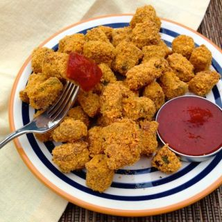 Goldfish-Crusted Okra with Spicy Tomato Dip